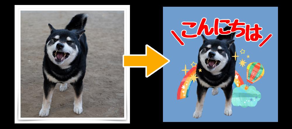 ペット写真を送信して切り抜きスタンプ化